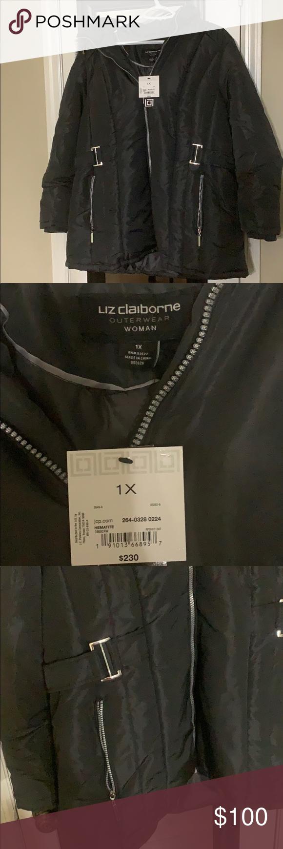 Liz Claiborne Outerwear Black Coat Black Coat Outerwear Liz Claiborne [ 1740 x 580 Pixel ]