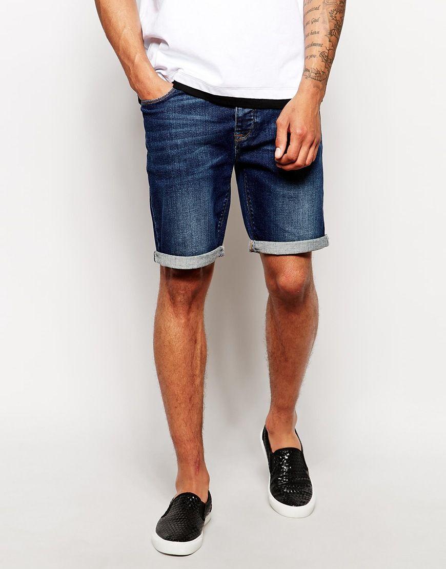 Shorts Von Asos 98 Baumwolle 2 Elastan Stretch Denim Verdeckter Hosenschlitz Schrage Seitentaschen Umgeschlagener Saum Unser Model Tragt Denim Shorts Asos Shorts