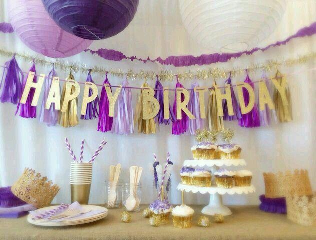 Birthday theme purple & gold | Parties | Gold birthday ...