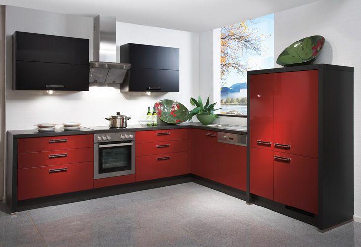 Küche in Rot Eckküche www.dyk360 kuechen.de ...