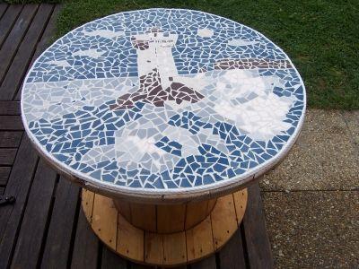 touret mosa ques phare en mosa ques sur un touret mosaique pinterest mosaics. Black Bedroom Furniture Sets. Home Design Ideas