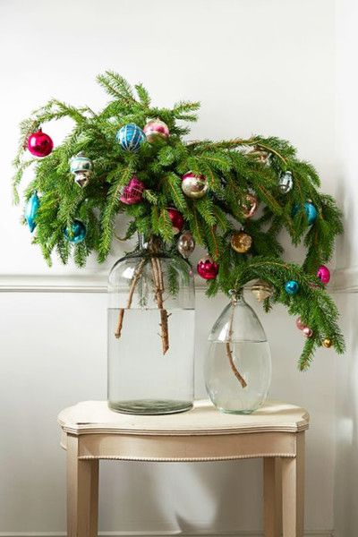 Artful Branches - pine tree branches in glass vase with colorful ornaments - Artful Branches Christmas...the Very Best Season! Pinterest