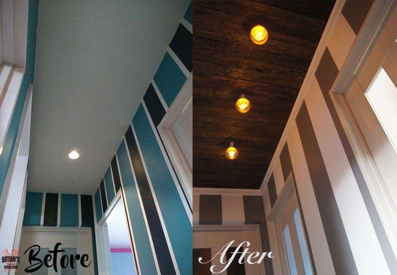 Diy Pallet Board Ceiling In Place Of Drop Ceiling Tiles
