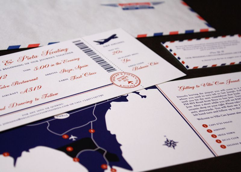 Our Customer Bow & Arrow Paper & Design Co located in Oakland, Ca. designs stationery, specifically wedding invitations and sell them on Etsy (http://www.etsy.com/shop/Bowarrowpaperco). This particular design was for a client who was having a destination wedding in Spain. She wanted her invitations to based of a plane ticket and have an airmail theme. The invitations were digitally printed on 130# Cougar Paper and the envelopes were the #10 Regular Envelopes - Airmail from Envelopes.com.
