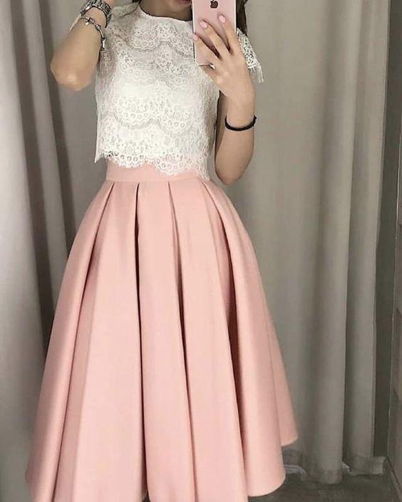 Teal Length Bridesmaid Dresses Lace Crop Top VP1025 – Dress