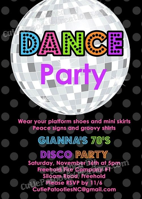 70s, 80s and 90s Disco Dance Party Birthday Invitations ...