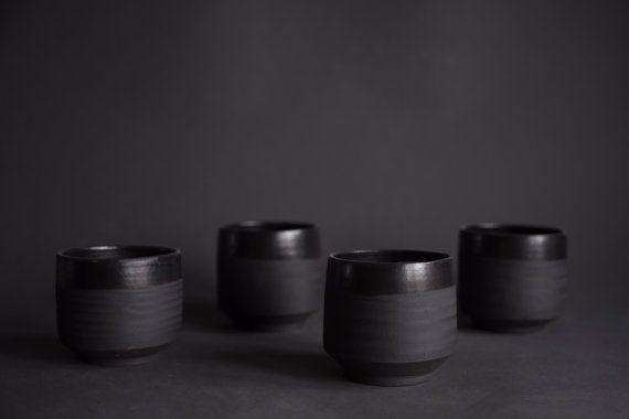 Set Of 4 Tea Or Coffee Espresso Cup Black Matte Minimal Etsy Espresso Cups Espresso Coffee Pottery Mugs