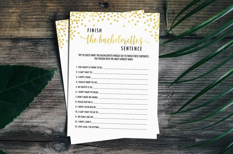 ♥️ Finish The Bachelorettes Sentence Game ♥️ - Gold Confetti A fun and  hilarious addition to a Bachelorett… | Bridal shower games, Bachelorette,  Bachelorette party