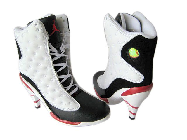 Womens Air Jordan Retro 13 High Heels White Grey shoes