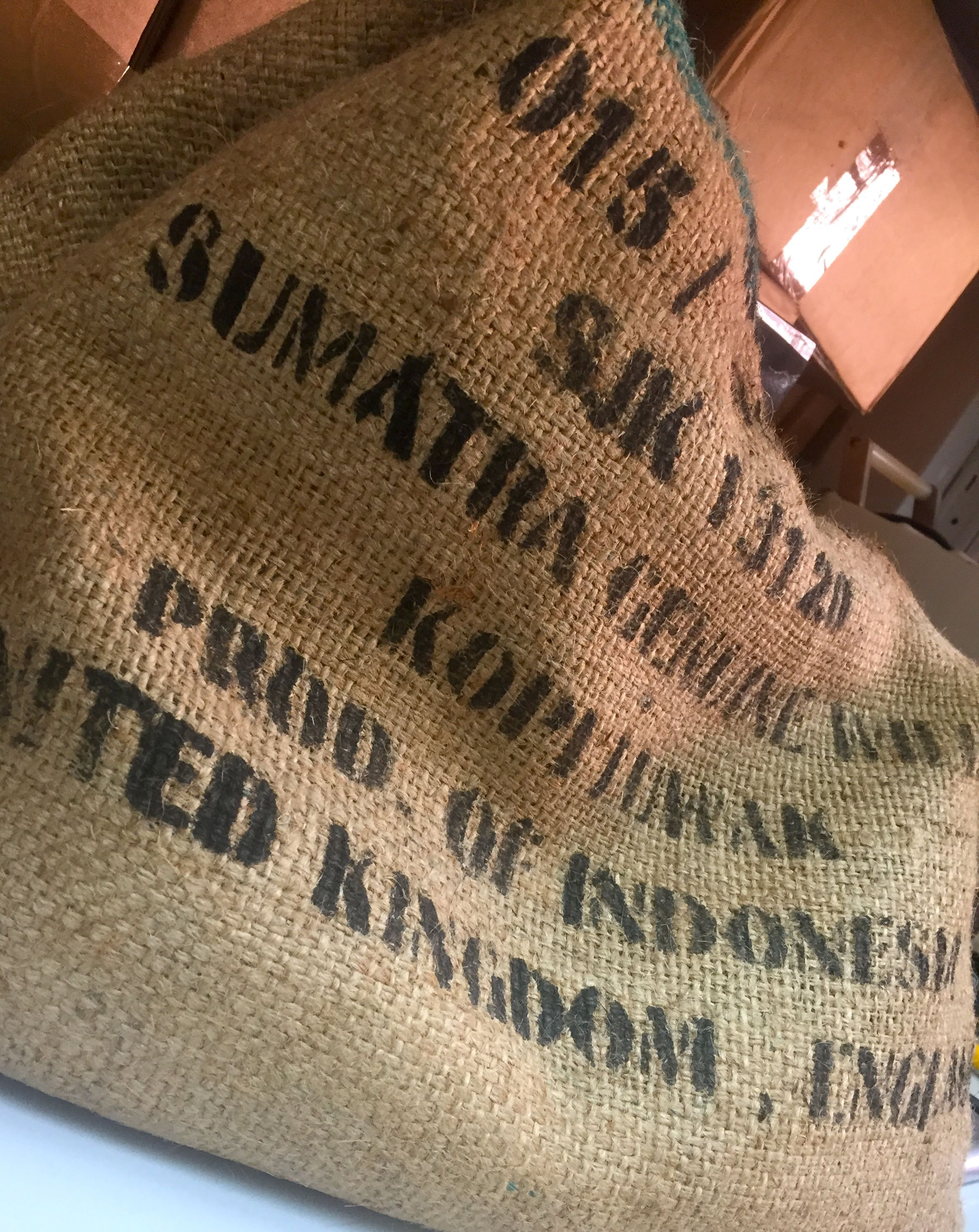 Imported green coffee beans from Indonesia. These coffee