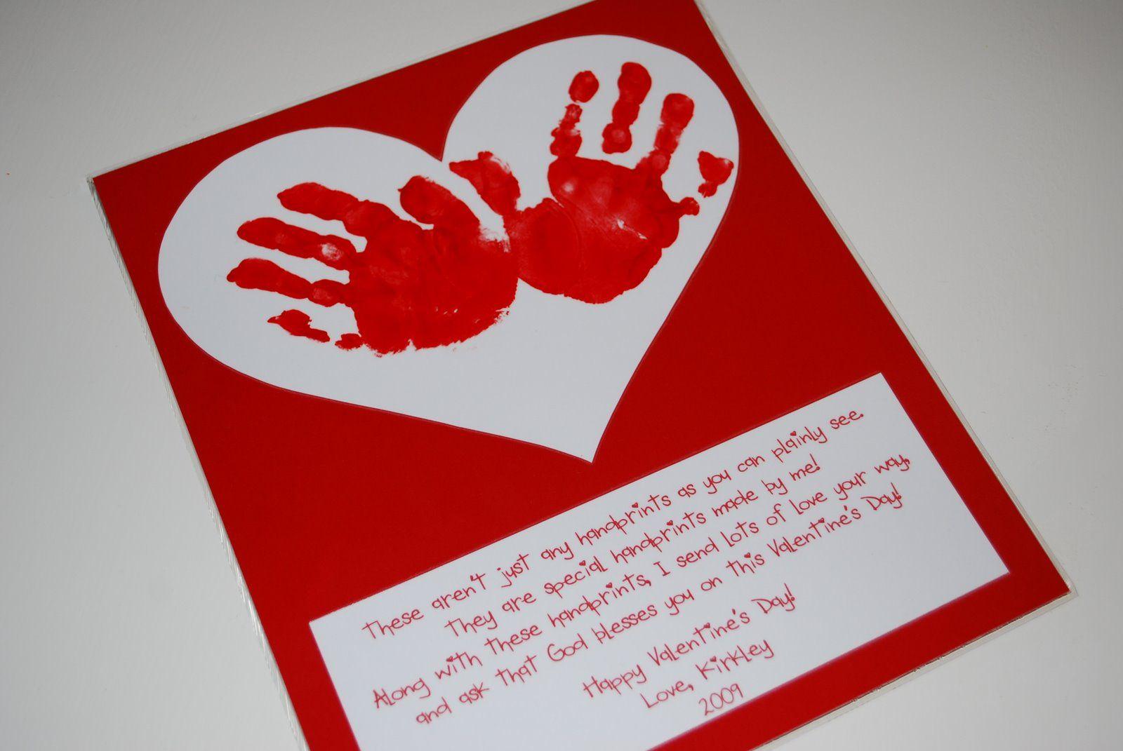 Valentine's Day handprint craft and poem.