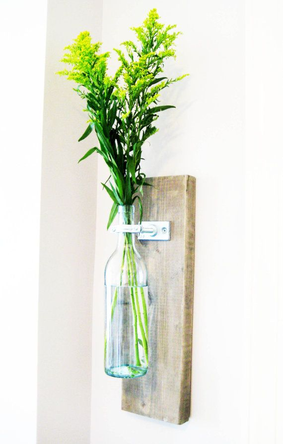 Rustic Wine Bottle Hanging Wall Vase on Etsy, $39.00