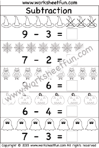 Halloween – Beginner Subtraction – 1 Kindergarten Subtraction ...