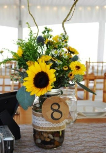 Sunflowers burlap lace and mason jars  gorgeous