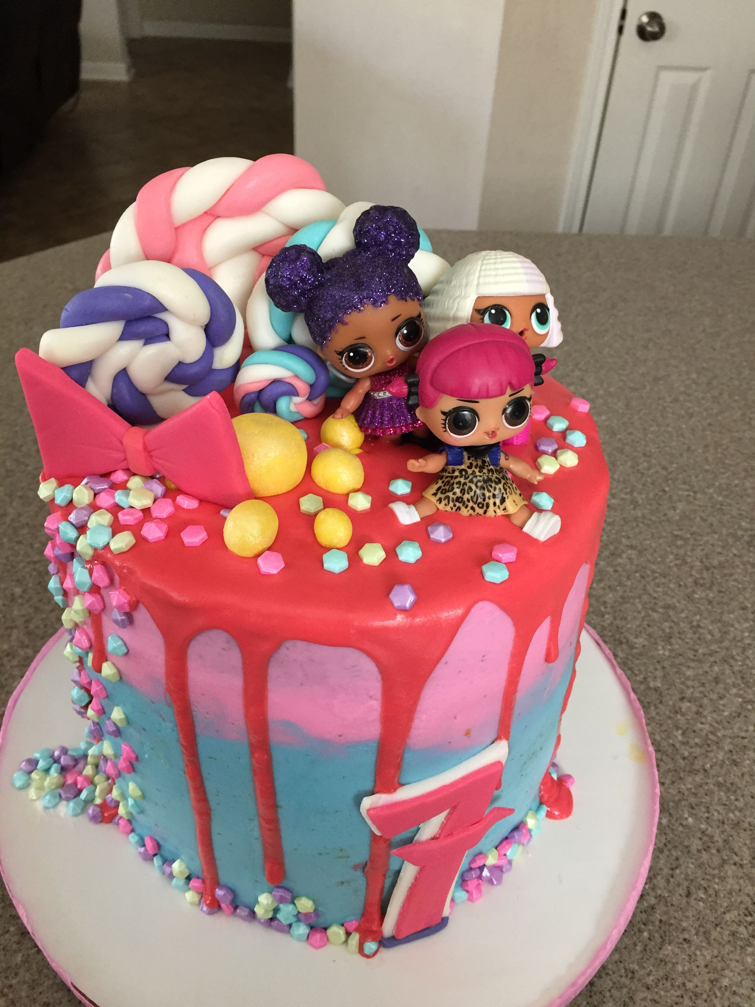 Lol Surprise Doll Cake Drip Cake Pink Birthday Cake Girl