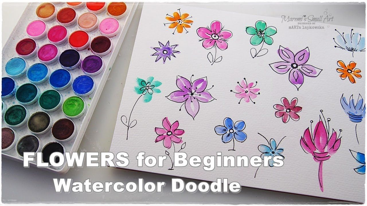 Super Easy Quick Watercolor Doodle Flowers Painting For Beginners