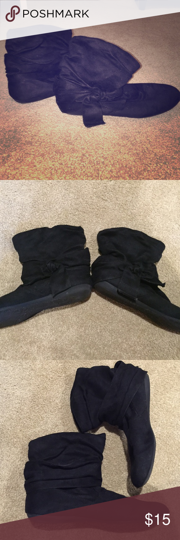 👢Rampage little black bow booties Adorable soft faux suede flat booties perfect for the fall and winter. Minor evidence of wear as pictured. Well loved and cared for. Cute bow on the outer side of each boot. Rampage Shoes Ankle Boots & Booties