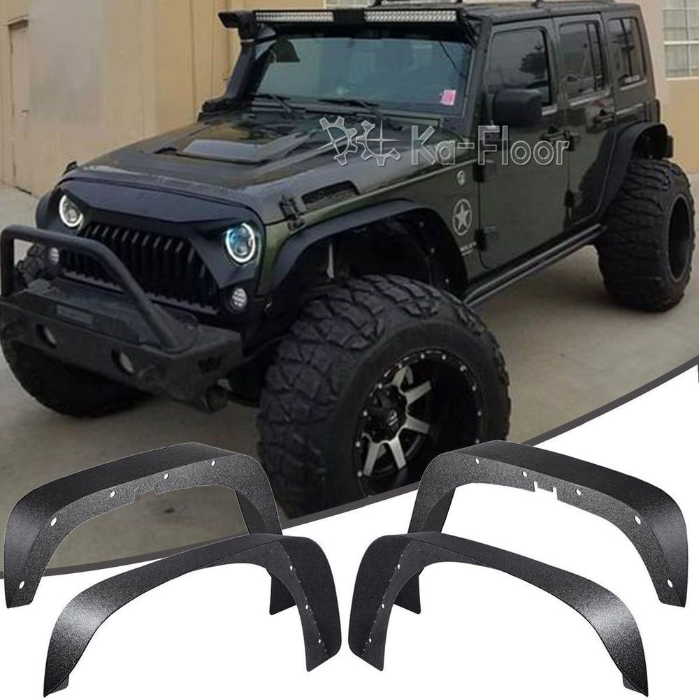 4x Fender Flares Wheel Protector Trim Guard For 07 17 Jeep