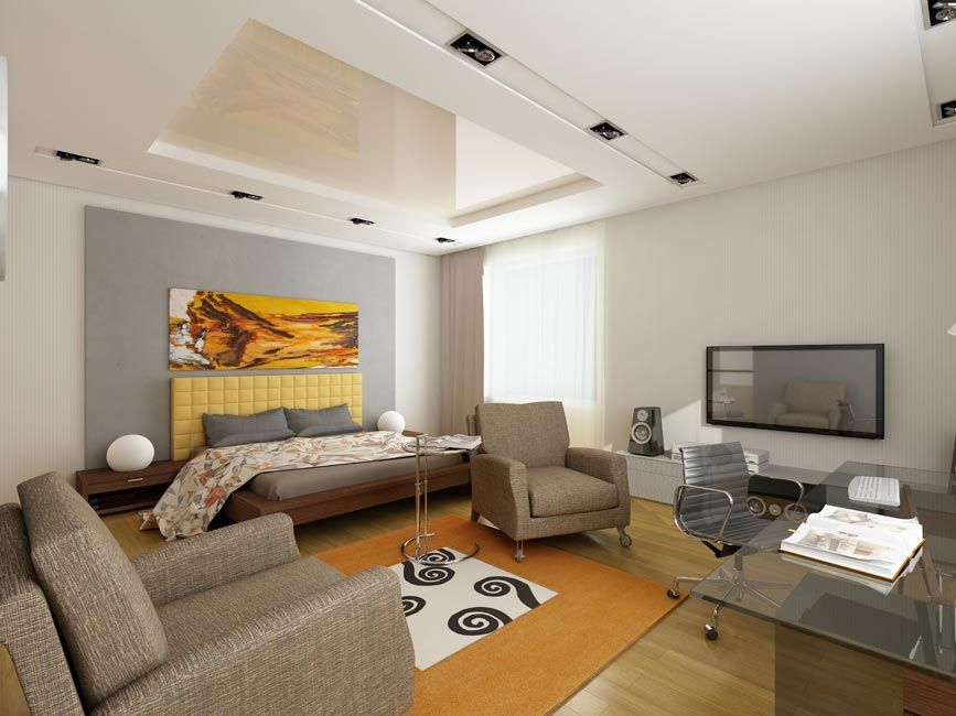 2014 Bright Bedroom Living Room Bachelor Pad With Modern Furniture Ideas