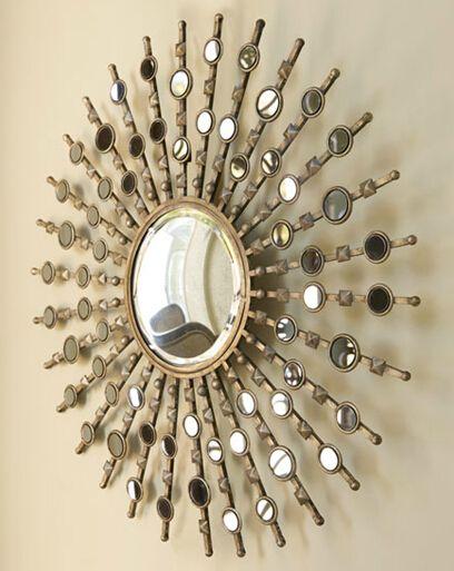 mr 2q0142 metalen frame muur decoratieve met gold zon muur spiegel, Hause deko