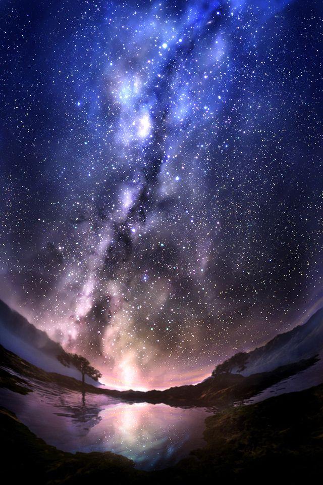 Stardust Scenery Wallpaper Night Sky Wallpaper Landscape Wallpaper Beautiful night scenery wallpaper hd