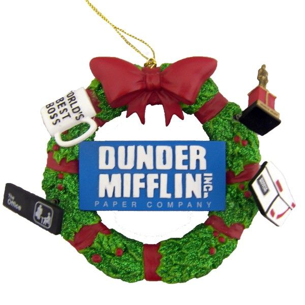 the office christmas ornaments. The Office Dunder Mifflin Wreath Ornament Christmas Ornaments 0