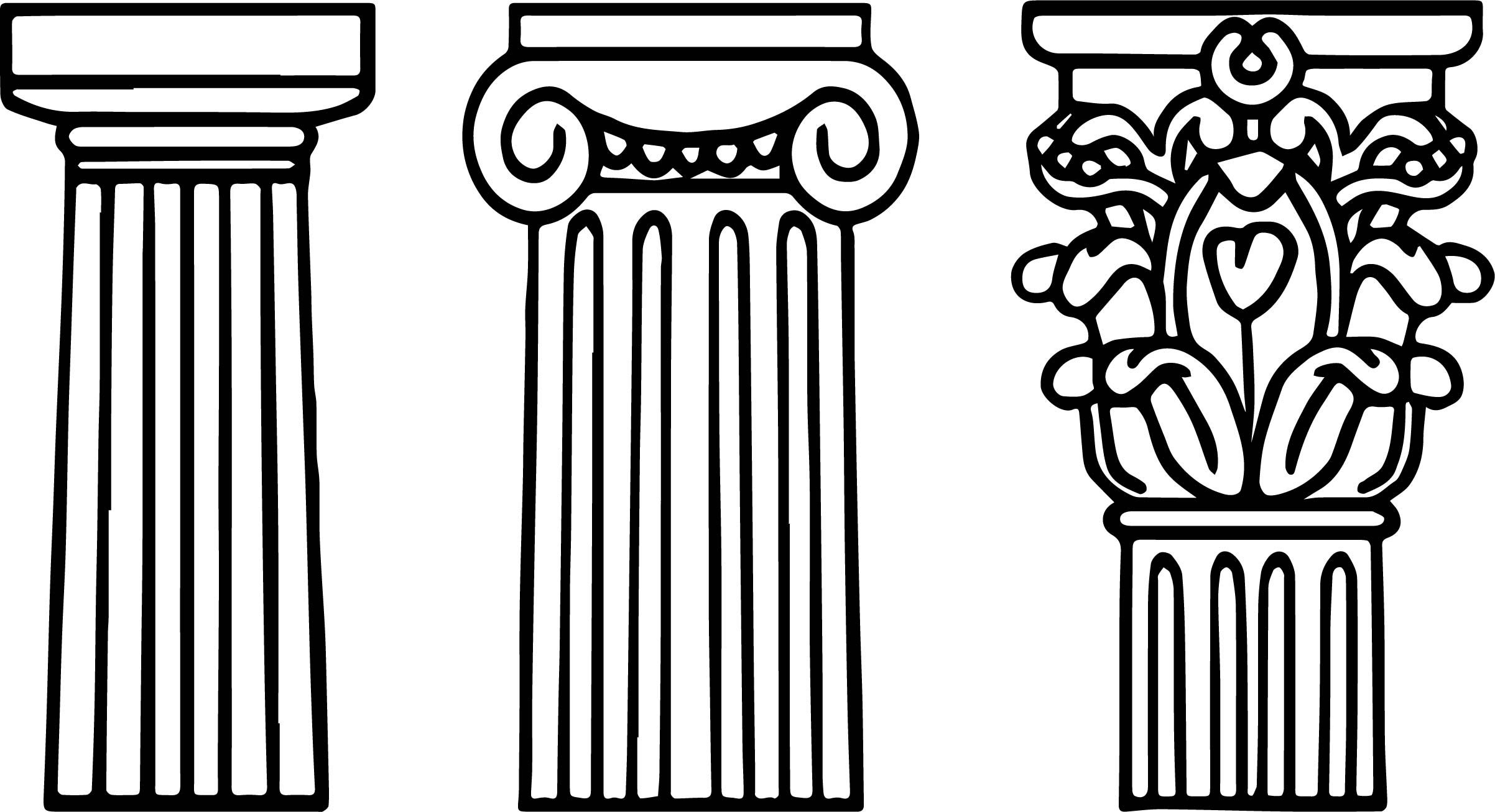 Awesome Architecture Columns Coloring Page Ancient Greece Art
