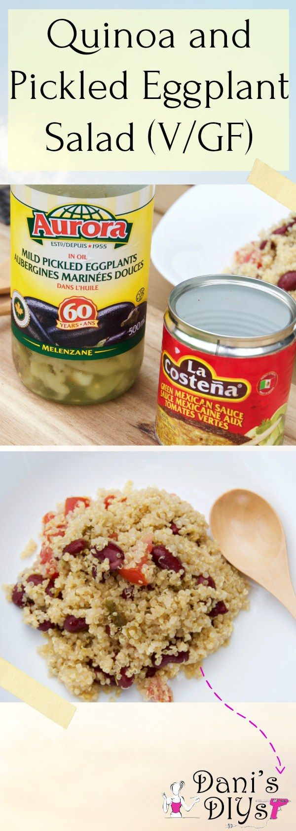 This quinoa, pickled eggplant and green Mexican sauce salad is so easy and absolutely delicious! Takes just minutes to put together and even less time to gobble up! Give me quinoa and some veggies and I am the happiest person ever! <3