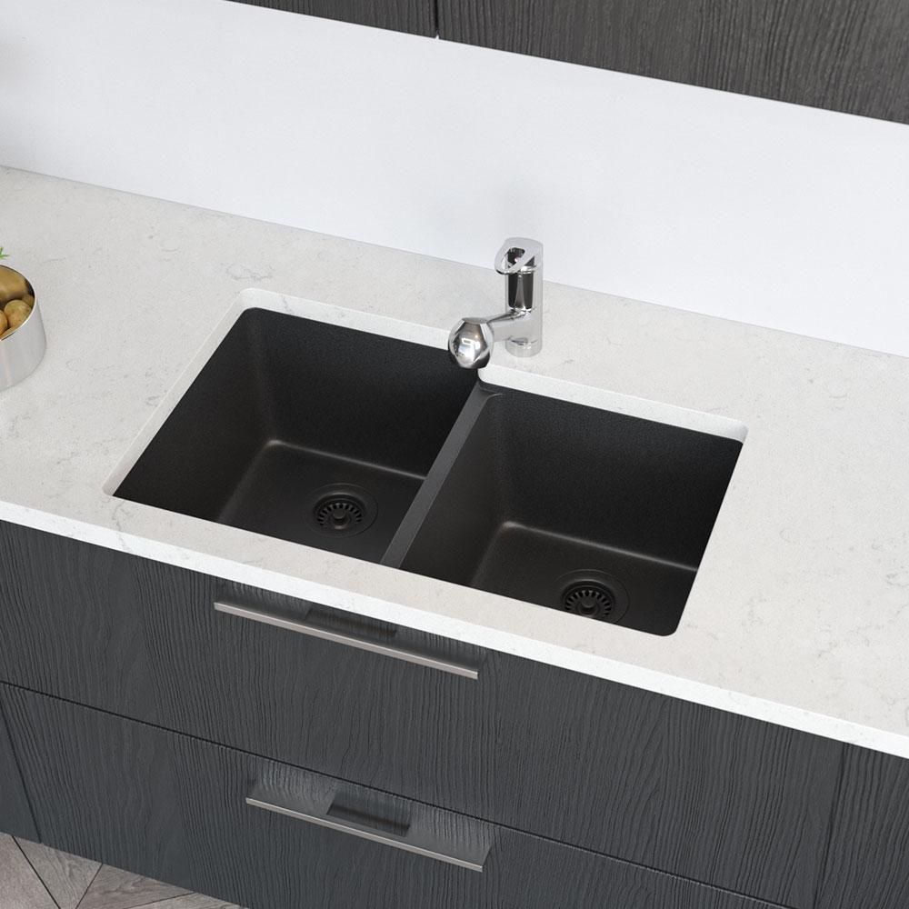 Rene Undermount Composite Granite 32 1 2 In Double Bowl Kitchen