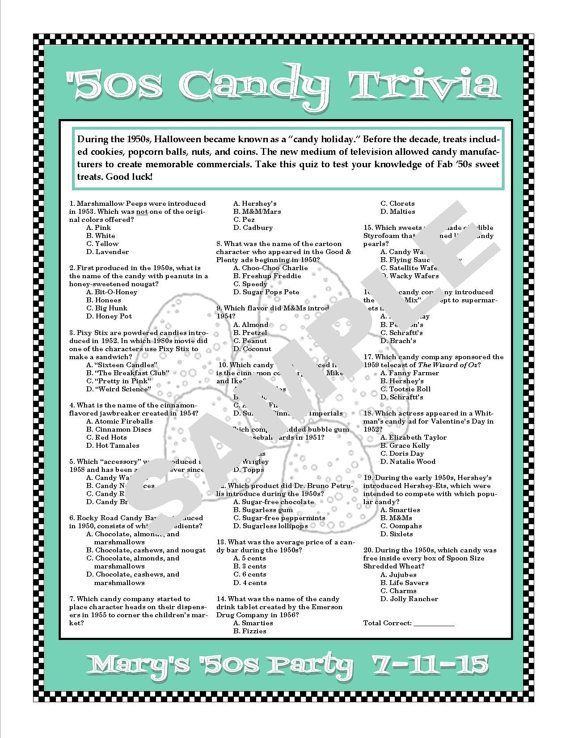 1950s Candy Trivia Printable Game--Personalize for Birthdays ...