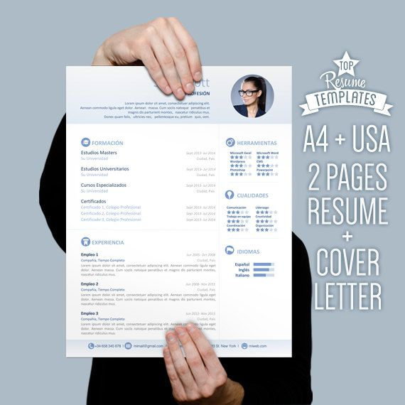 Resume Template Cover Letter 2 Page Cv A4 Letter Size By