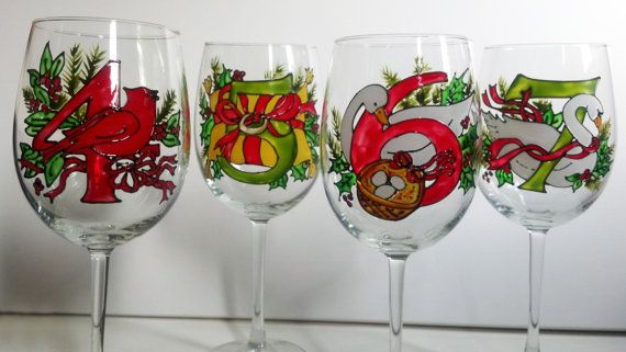 Hand Painted 12 Days Of Christmas Wine Glasses Set Of 12 Each One Of These Wine Glasses Depict Christmas Wine Glasses Hand Painted Glassware Glassware Gift