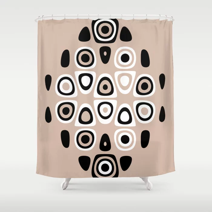 Neutral Tones Black & White Abstract Print Shower Curtain by dreamprintdesigns
