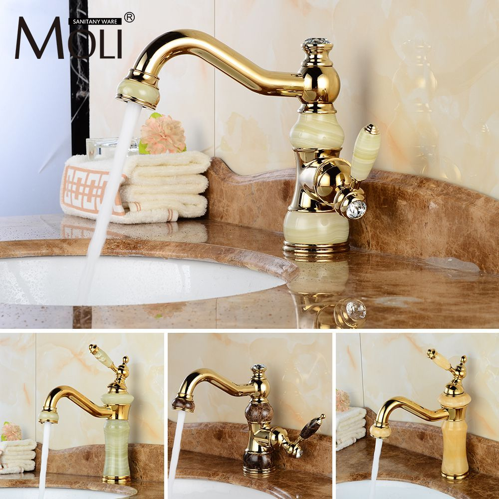 Free Shipping Luxury Golden Faucet Copper Bathroom Faucets With Stone Single Handle Cold Hot Water Tap Mixer Torneiras Kupfer Badezimmer Armaturen