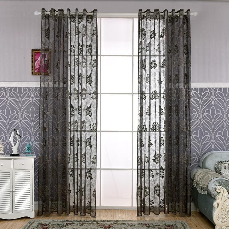 SunnyRain 1 Piece Dark Grey Jacquard Sheer Curtain