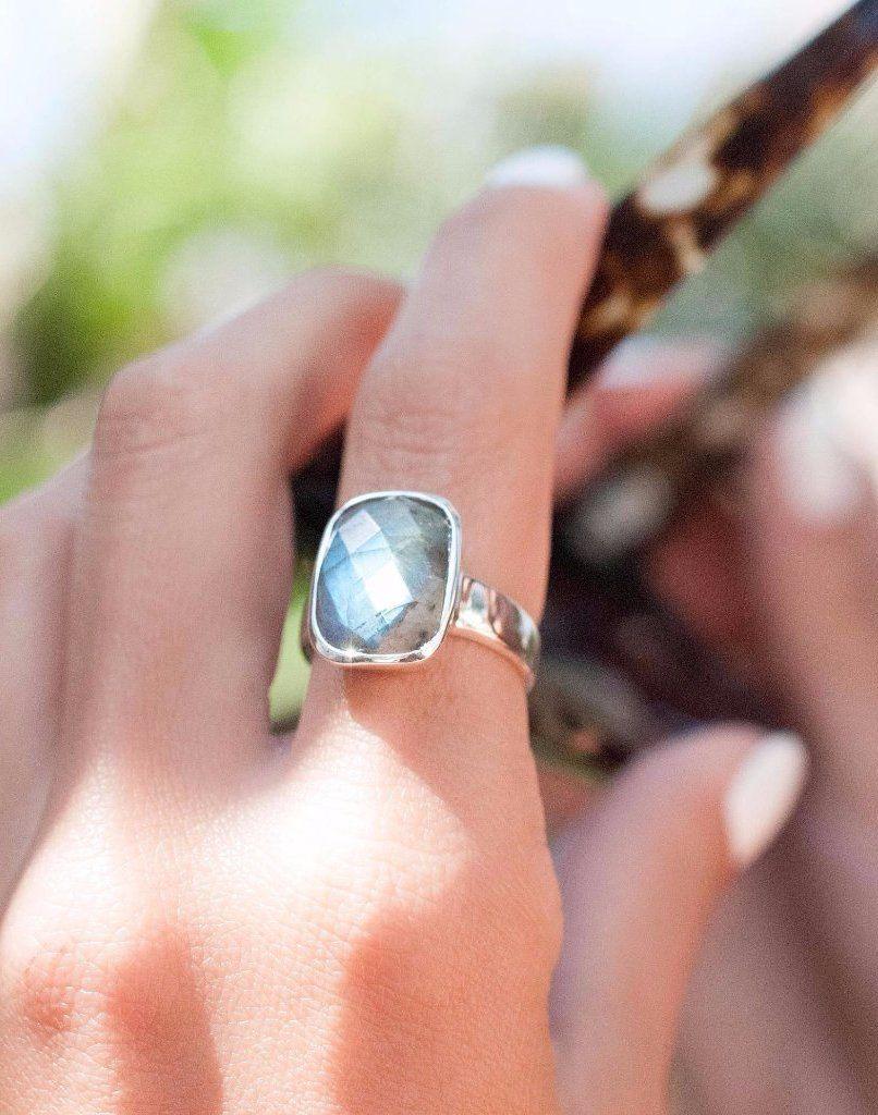 Alice Square Rainbow Labradorite Ring ~ MR058   Labradorite ...