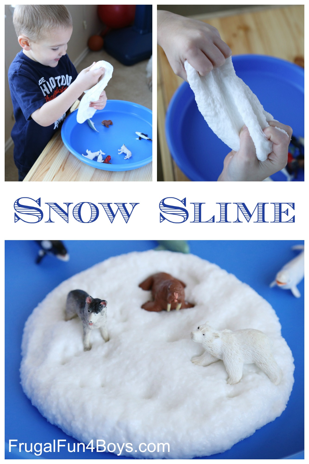 How to Make Snow Slime - Frugal Fun For Boys and Girls