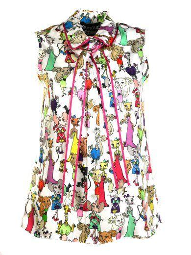 503edbdedcf6c BOUTIQUE MOSCHINO Boutique Moschino Cartoon Animal Print Blouse.  #boutiquemoschino #cloth #shirts