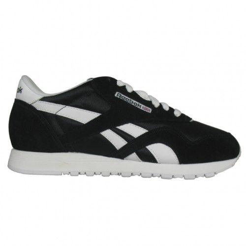 82230a9ddbe Reebok CL Nylon Mens Running Shoe 6604 Black-White