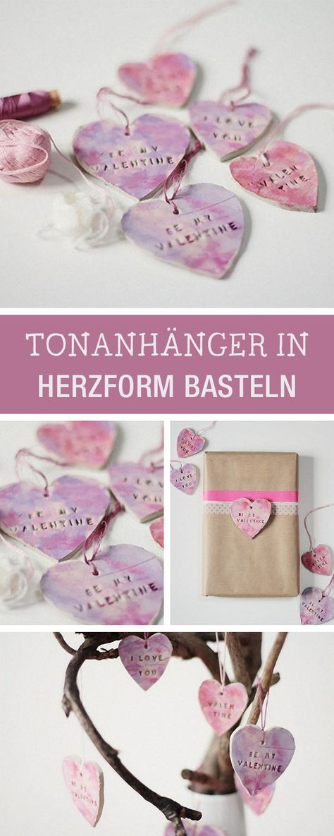Romantisches DIY: Tonanhänger in Herzform basteln / craft romantic decor: heart shaped pendants made of clay via DaWanda.com