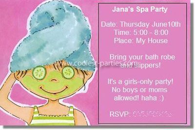Spa Party Invitations My Daughter Turned Last Year Since She - Birthday invitation card for 8 year old boy