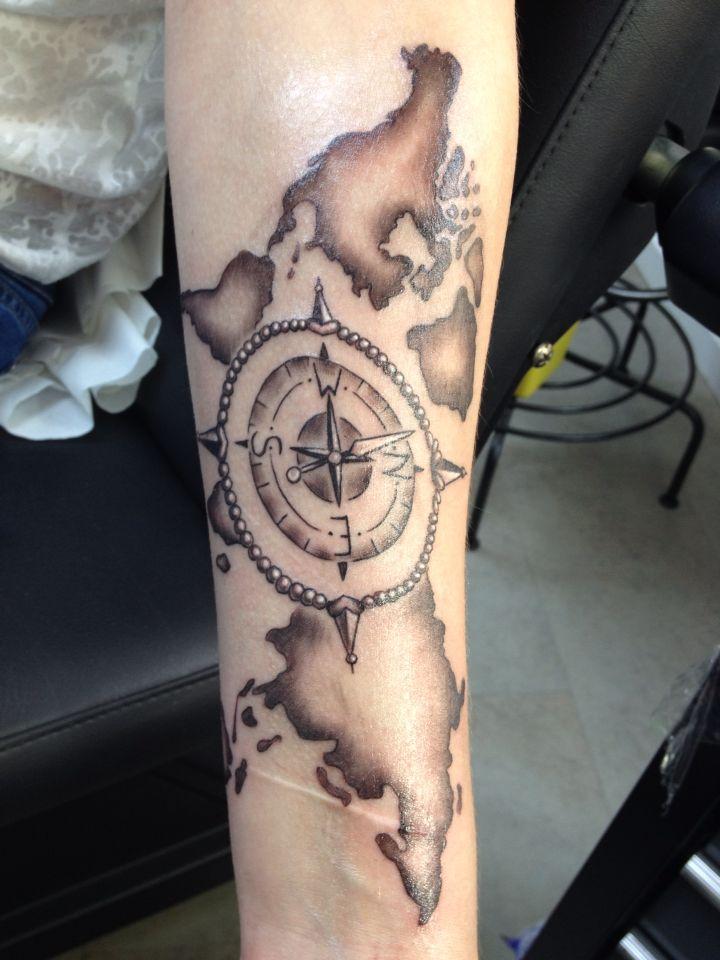 Tattoo Kompass Weltkarte Tattoos Und Ideen Pinterest Weltkarte