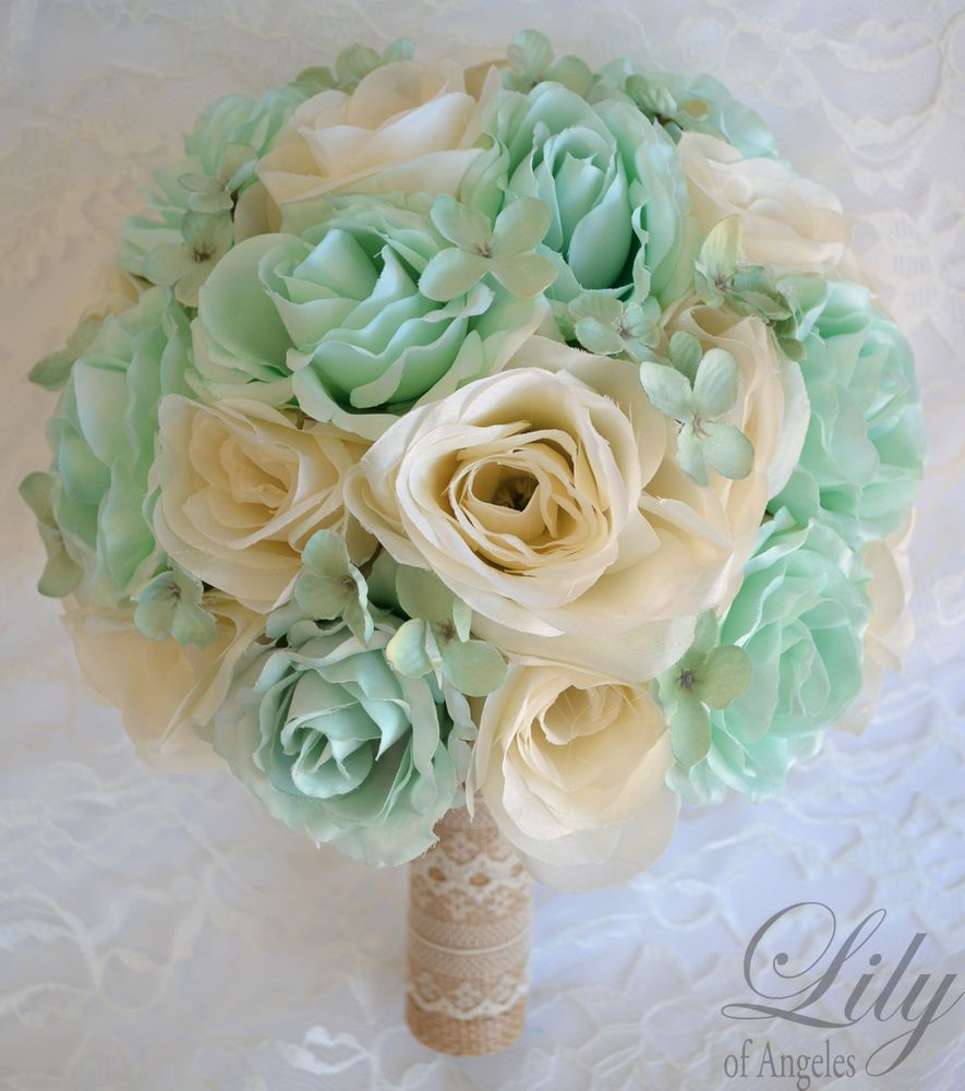 17 Piece Package Silk Flower Wedding Bridal Bouquets Mint Ivory