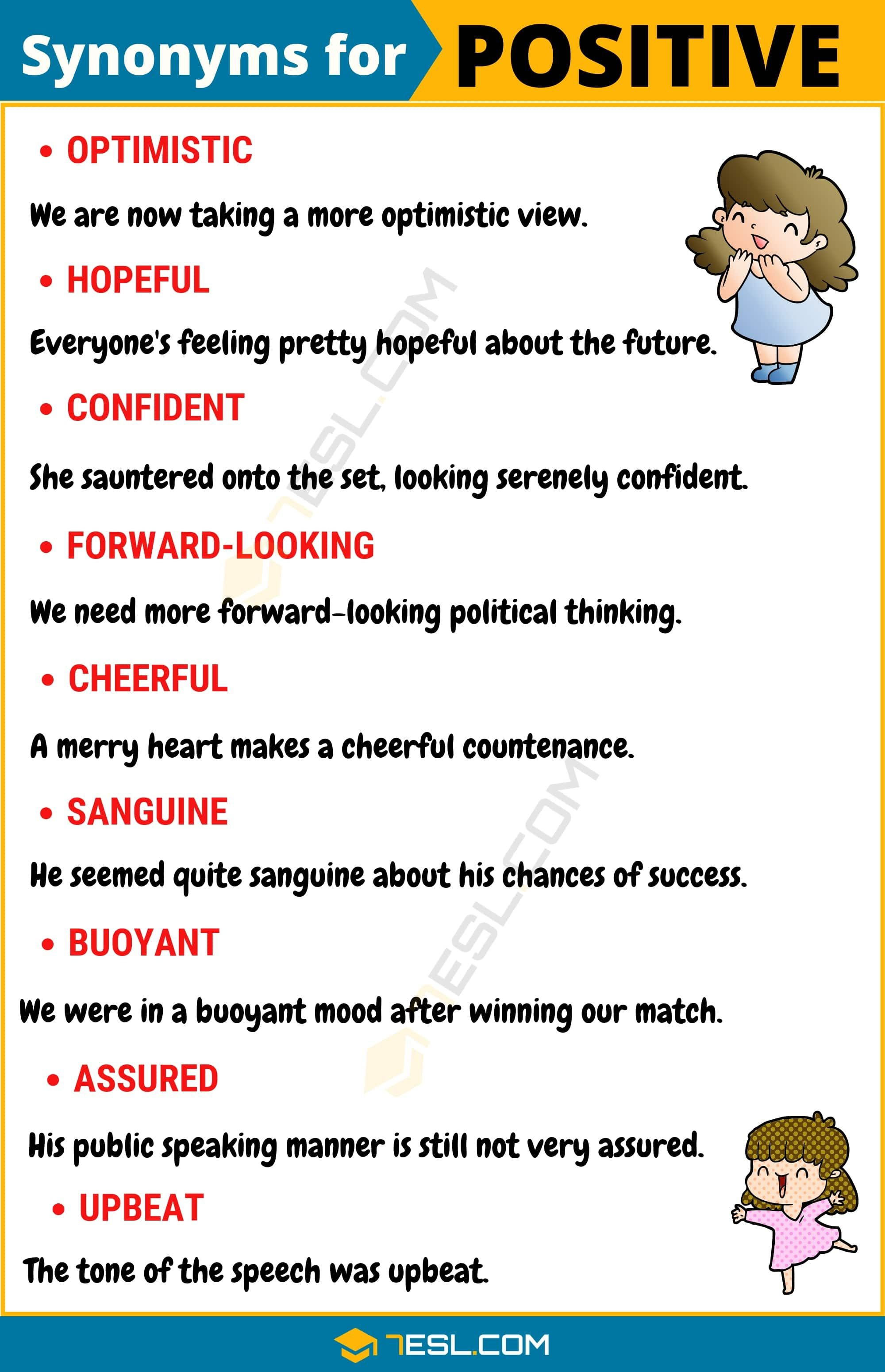 Another Word For Positive List Of 100 Synonyms For Positive With Examples 7esl Interesting English Words English Vocabulary Words Learn Another Language
