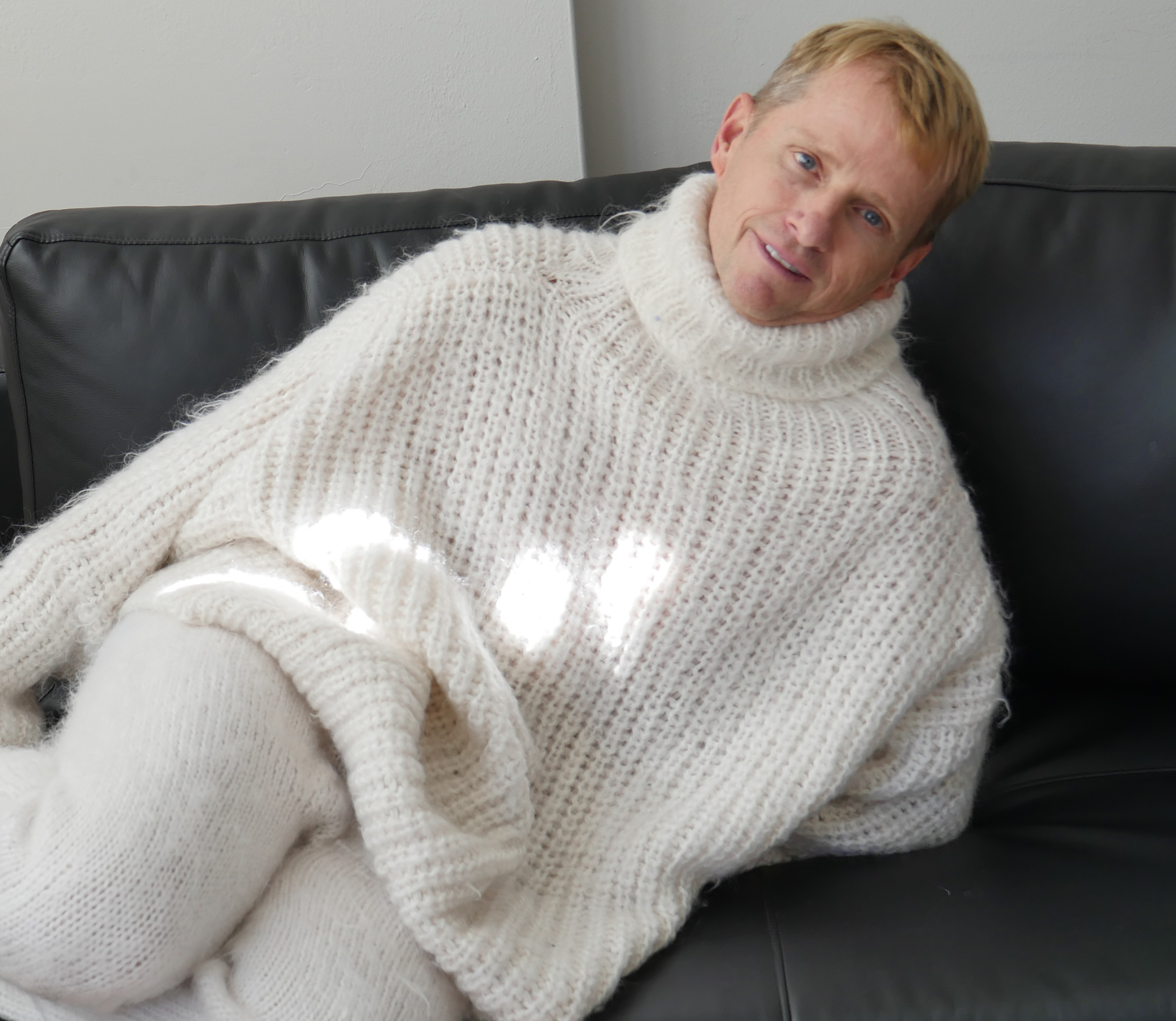 gay in mohair sweater