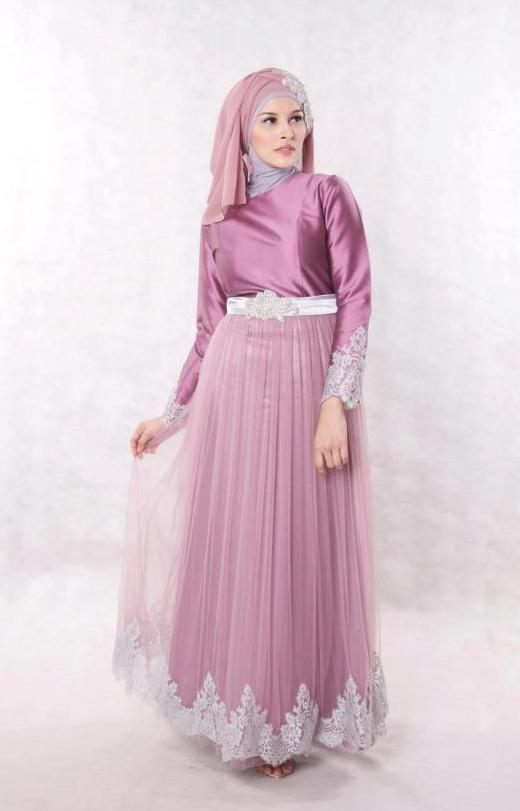 Dress Baju Muslim Pesta Pink Silver Cantik shoping