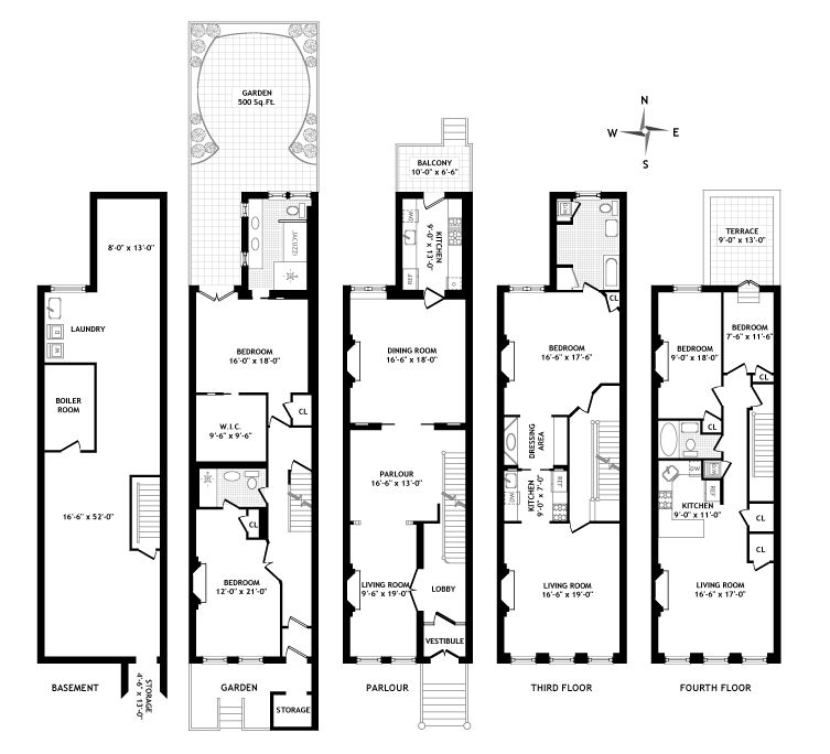 Brownstone floor plan elementary building and places for Brownstone building plans