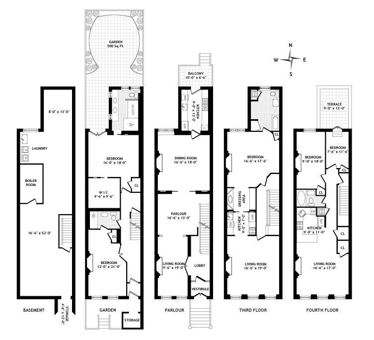 Brownstone floor plan elementary elementary pinterest for Typical brownstone floor plan