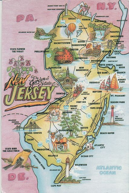Greetings From New Jersey Map Postcard Jersey Girl Texts And - Nj state map with cities