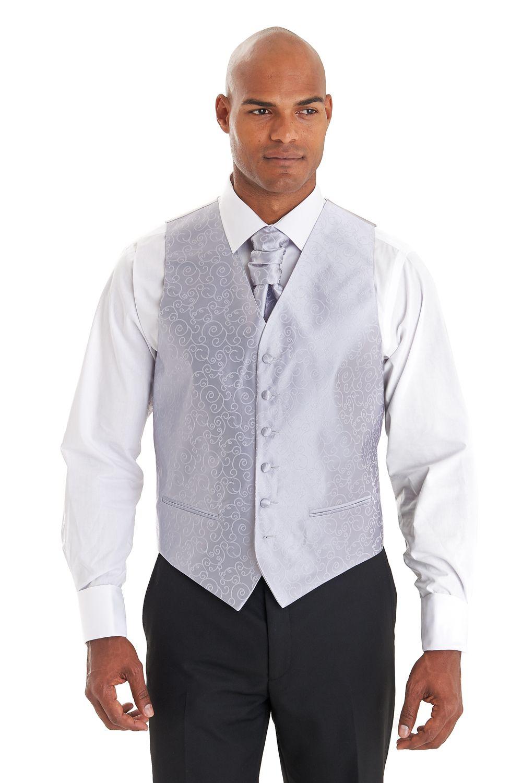 661e3781541 Moss Bros Silver Swirl And Cravat Waiscoat